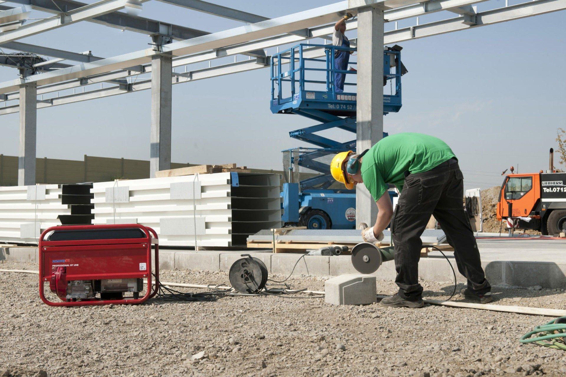 Powerstation beim Baustelleneinsatz